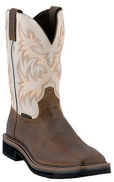 Justin® Original Workboots™ Mens Brown / Ivory Steel Square Toe Stampede Work Boots | Cavender's Boot City