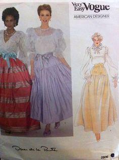 Oscar De La Renta Designer Vogue Sewing Pattern #2806 Misses Sz 10 Skirt