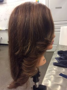 Right side view of highlights an blow dry