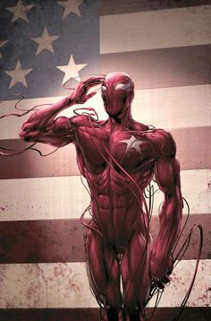 Carnage has a dream like all American's, the American dream. His dream was to turn the USA into carnage symbiote, but came to a crashing halt. Carnage Salute You Marvel Comics, Arte Dc Comics, Marvel Venom, Marvel Villains, Bd Comics, Ms Marvel, Marvel Heroes, Comic Book Characters, Marvel Characters