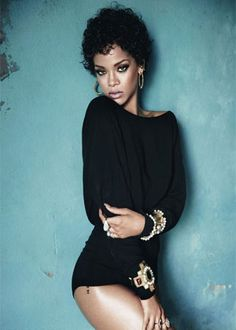 Rihanna, short and sassy. i want a wig like this.