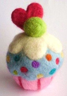 Needle felted cupcake pincushion pattern by loopyloudesigns, £2.50