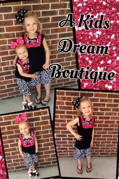 Girls boutique outfit set tank top ruffles shorts black white pink back to school