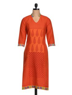 Buy Shakumbhari Orange Printed Kurta Online, , LimeRoad