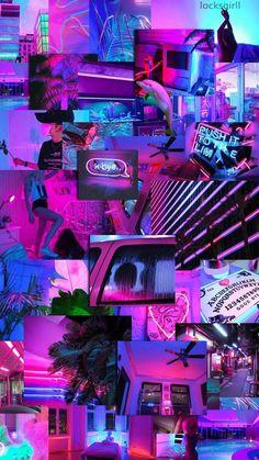 Wallpaper retro neon new Ideas Neon Wallpaper, Iphone Background Wallpaper, Aesthetic Pastel Wallpaper, Aesthetic Backgrounds, Aesthetic Wallpapers, Bts Wallpaper, Purple Wallpaper Iphone, Calendar Wallpaper, Homescreen Wallpaper