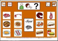 MATERIALES - Tableros de Comunicación de 12 casillas.    Tablero de comunicación de doce casillas sobre alimentos: carnes y preparados.     http://arasaac.org/materiales.php?id_material=224