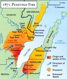 """Survivors of the Peshtigo fire later told of jumping into rivers to escape the flames, and witnessing firestorms, or """"tornadoes of fire,"""" that devastated enormous areas. Many of those who sought shelter in the Peshtigo River literally boiled to death. American Odyssey, American History, Milwaukee Wisconsin, Lake Michigan, Manistee Michigan, Sturgeon Bay, Port Huron, Wild Fire, Weather Underground"""