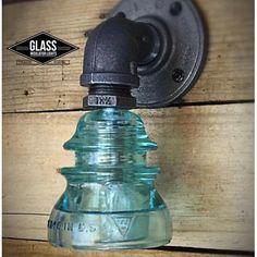 Glass Insulator Light -sconce - Bathroom Light - Pipe Lamp - Wall on Home Bathroom Ideas 5812 Bathroom Sconce Lighting, Bathroom Wall Lights, Sconces, Insulator Lights, Glass Insulators, Pipe Lighting, Industrial Lighting, Lighting Ideas, Lamp Switch