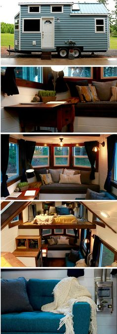 Two kinds of roof on a tiny house for roomier loft