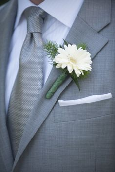 Cly Gray Suit With Simple Flower I Think Prefer Suits For A Wedding Over Black
