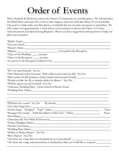 order of events for wedding dj