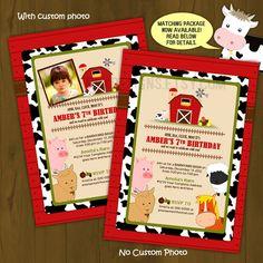 Barn Birthday Invitation - Barnyard Barn Animals Printable Birthday Invitation with pig, goat, sheep, horse, cow and hen