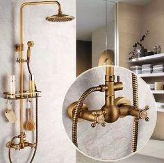 kit de regadera de baño + grifo de pared bronce antiguo