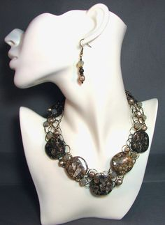 Adjustable Wire Crochet Necklace/Earring Set in Turtella Fossil Agate, Swarovski Pearls and Swarovski Crystal. $115.00, via Etsy.
