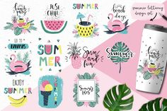 Summer / clip art / tropical / hawaii / flamingo / lettering / watermelon / overlays / palm leaves /PNG / vector / digital / bananas by LokkoGraphicStudio on Etsy Summer Clipart, Summer Paradise, Tropical, Typographic Design, Party Flyer, Freundlich, Craft Items, Handmade Crafts, Overlays