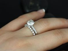 Alberta & Petite Bubble 14kt Round FB Moissanite and Diamond Tulip Solitaire Wedding Set (Other metals and stone options available)