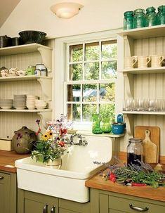 cottage kitchen -- farmhouse sink, open shelving and beadboard. Farmhouse Sink Kitchen, Farmhouse Chic, New Kitchen, Vintage Kitchen, Kitchen Dining, Farm Sink, Kitchen Ideas, Kitchen Country, Antique Farmhouse
