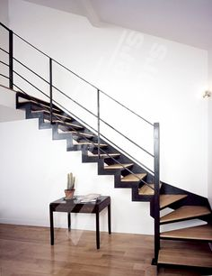 Idea for stairs up to concrete mezzanine Metal Stairs, Modern Stairs, Staircase Railings, Staircase Design, Interior Stairs, Interior Architecture, Flooring For Stairs, House Stairs, Home Decor Furniture