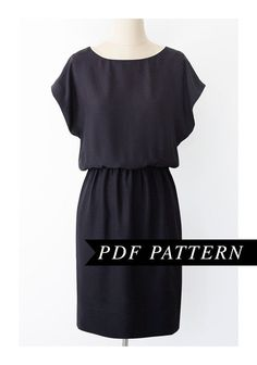 Short kimono sleeve dress - .PDF pattern. If I were a beginner, I'd want to sew this. Something I would actually wear! #diydresseasy