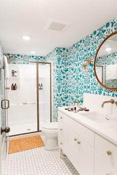 W&D Renovates – A Pattern Happy Basement Bathroom