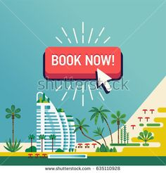 Cool vector design on 'Book Now' beach hotel resort background. Ideal for travel agency, summer vacation tours, exotic destination web banners and printables