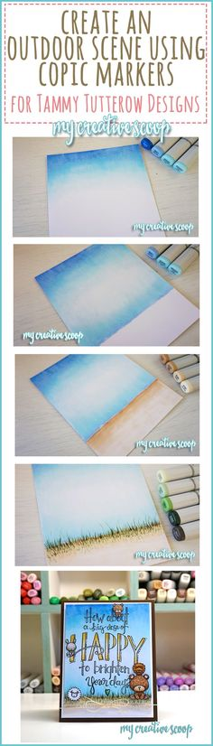 Learn how to create an outdoor scene using Copic MArkers. Step by Step Copic Marker Tutorial. I'm also using Tammy Tutterow Designs Stamps by Spellbinders and Mama Elephant Stamps.