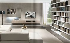 - Biblioteca modular by ZALF spa Living Room Wall Units, Living Room Modern, Home Living Room, Living Room Designs, Tv Wand, Muebles Living, Piece A Vivre, Deco Design, Contemporary Interior