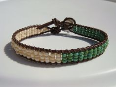 Turquoise Seed beaded Leather Bracelet Flower by tinacdesigns, $20.00
