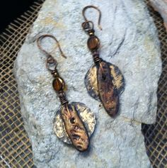 Rustic Textured Polymer Clay & Hammered Copper Disk Dangle Earrings Handmade Earthy By Design Jewelry (25.00 USD) by EarthyByDesign