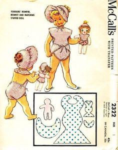 McCalls 2322 Toddler's Romper and Bonnet with Matching Stuffed Doll Sewing Pattern, Vintage 1959 by McCall's, http://www.amazon.com/dp/B00E46Y7OG/ref=cm_sw_r_pi_dp_DoY7rb11Z02WD/178-5414499-7525046