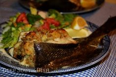 Stuffed Flounder,,,    http://www.deepsouthdish.com/2011/04/seafood-stuffing-mix-recipe.html
