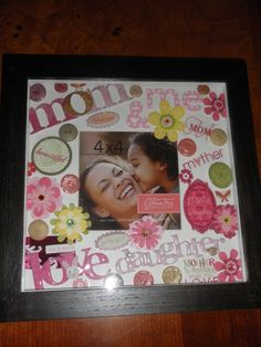 This is a frame a decorated using embellishments and stickers from local craft store.this was a Mother's Day gift for a first time mother. Cute Crafts, Crafts For Kids, Arts And Crafts, I Love Mom, Mom And Dad, Holiday Gifts, Holiday Ideas, Christmas Ideas, Craft Night