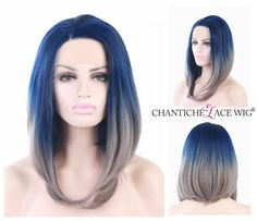 Short Bob Synthetic Hair Lace Front Wigs Straight Ombre Blue&Gray Heat…