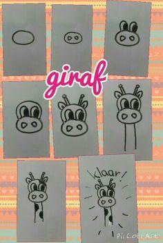 Leer in stappen een leuke giraf te tekenen.