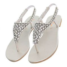 309bcd9b1ff84e Womens flat diamante sparkly toe post silver party wedding sandals size 3-8