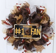 Check out this item in my Etsy shop https://www.etsy.com/listing/220133500/wyoming-cowboys-inspired-deco-mesh