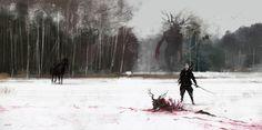 Jakub Rozalski - Fantasy The Witcher fanart Witcher Art, The Witcher 3, Yennefer Witcher, Arte Horror, Horror Art, Fantasy World, Fantasy Art, Art Sinistre, Arte Robot