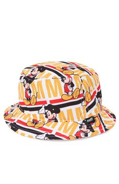 5c8819f120c Neff teams up with Disney for this men s bucket hat found at PacSun. The  Ring Leader Bucket Hat has a white base and a multi color Mickey print  throughout ...