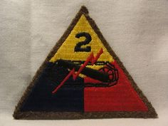 """WW2 WWII US Army 2nd Armored Patch """" Hell on Wheels"""" Tunisia Normandy Black Back 