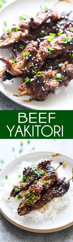 Amazingly Flavorful and super tender, this is my favorite recipe for BEEF YAKITORI #Beef #Asian #Takeout