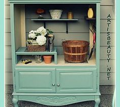 old entertainment center turned into a potting shed, outdoor furniture, painted furniture, repurposing upcycling Furniture Projects, Furniture Makeover, Home Projects, Diy Furniture, Armoire Makeover, Outdoor Furniture, Outdoor Projects, Bathroom Furniture, Tv Armoire