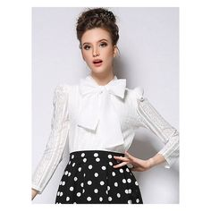 Choies White Lace Blouse With Bow Trim ($22) ❤ liked on Polyvore featuring tops, blouses, white bow blouse, lacy blouses, white blouse, bow top and lace blouse