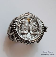 Horus & Anubis Ring : hand engraved by master engraver Aleksey Saburov with the Egyptian style motif: highly-detailed Pharaohs on both sides with sapphire eyes and surrounded by decorative ornaments. 6 sapphire stones and gold inlay. Jewelry Rings, Jewelery, Silver Jewelry, Jewelry Accessories, Silver Rings, Jewelry Design, Male Jewelry, Sapphire Eyes, Sapphire Stone