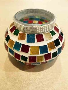 Bowl Multi Color Glass Candle Light Holder Online Shopping