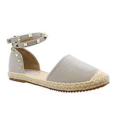0cdd2e7f3c688 New Ladies Womens Flats Studded Espadrilles Ankle Strap Sandals Pumps Shoes  Size