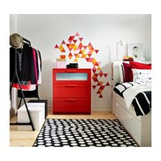BRIMNES 3 drawer chest - red/frosted glass - IKEA