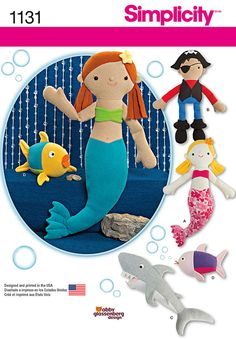 sew up these fun sea inspired stuffies. pattern includes magical mermaid, plundering pirate, snarling shark, and floundering fishies. abby glassenberg designs for simplicity.