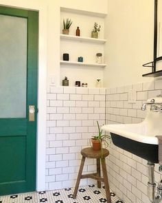 Retro Bathrooms, Upstairs Bathrooms, Downstairs Bathroom, Bathroom Renos, Bathroom Interior, Master Bathroom, Bathroom Niche, Glass Bathroom Door, Earthy Bathroom