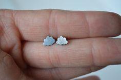 Black Cloud Earrings, Stud Earrings, Cloud Earrings, Cute Stud Earrings, Small Earrings, Puffy Clouds, Dark Clouds, Silver Clouds, Cloud