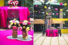 Pink Mehendi round table linen decor with mason jars and colourful flowers with cut lemon and orange slices under the paper pom poms   Jonathan & Subhashree   Curated by Witty Vows   Indian Mehendi decor ideas  The ultimate guide for the Indian Bride to plan her dream wedding. Witty Vows shares things no one tells brides, covers real weddings, ideas, inspirations, design trends and the right vendors, candid photographers etc.  #bridsmaids #inspiration #IndianWedding   Curated by #WittyVows